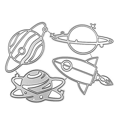 Yuanshenortey Metall Stanzformen Planet Rakete Schablonen Stanzschablonen DIY Scrapbooking Zum Kartenmachen Dekoration