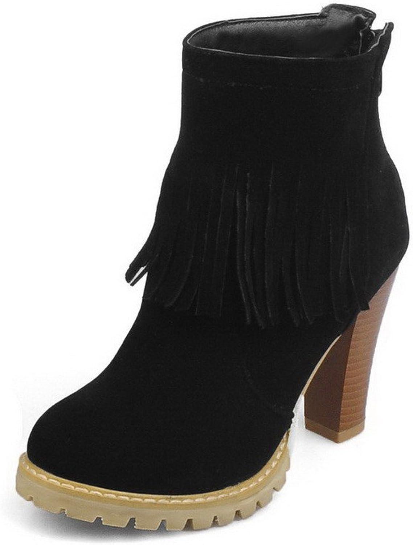 AllhqFashion Women's Zipper High-Heels Flock Solid Low-Top Boots