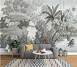 Blovsmile Papel tapiz personalizado de estilo europeo Retro, mural nostálgico pintado a mano de selva tropical, plátano, palma, sofá, TV, fondo 3D A-300X250cm(WxH)