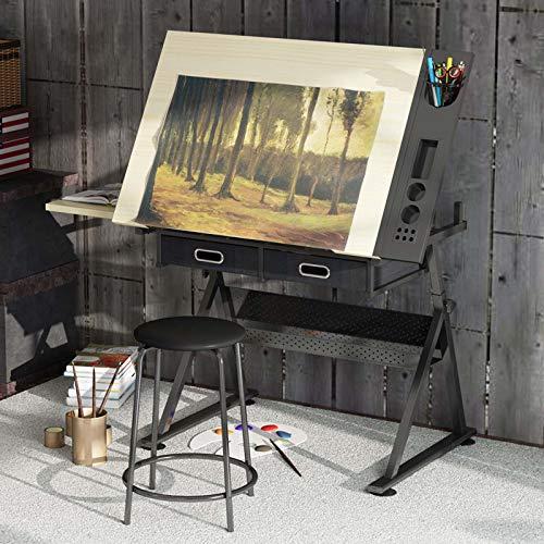 BOPP Zeichentisch Mit Hocker Zeichentisch Schreibtisch Höhenverstellbar Neigungsverstellbar Arbeitstisch Kunst Tisch Mit Stauraum Und Hocker Für Architekten Und Techniker
