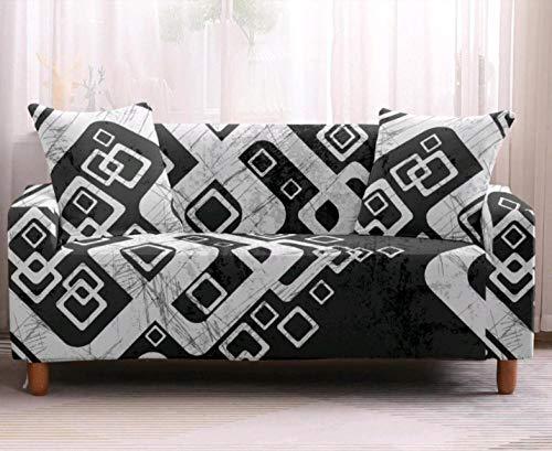 Funda de sofá de 3 Plazas Funda Elástica para Sofá Poliéster Suave Sofá Funda sofá Antideslizante Protector Cubierta de Muebles Elástica Tela Escocesa Blanca Negra Funda de sofá