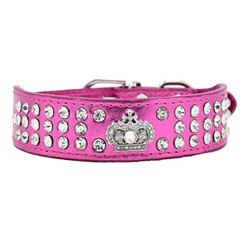 Generisches Hundehalsband Halsbänder aus Bling PU Leder,mit Strass Krone und Diamante Stein,Blau Lila Pink Rot Wählbar, XS S für kleine Hunde wie Chihuahua Spitz, Rosa XS