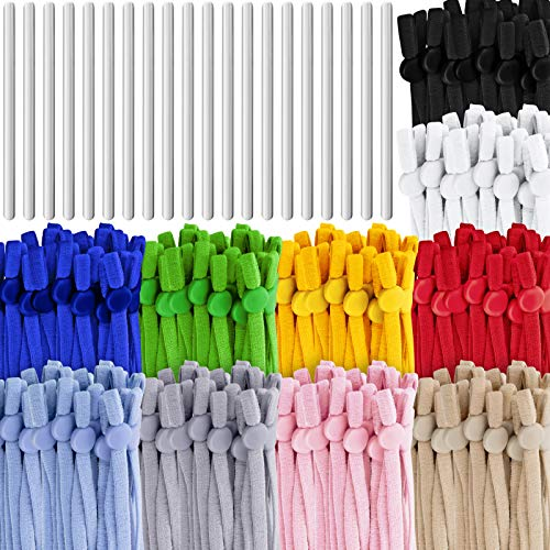 200 Pieces Elastic Bands with Adjustable Buckle Adjustable Elastic Ear Loops Band Strap for Sewing Elastic Cord Stretch DIY Ear Band Loop(Mixed-Color Cord)