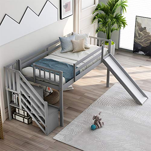 mattress cover for storages DERCASS Loft Bed Frame Wood Twin Floor Bed with 2-Step Staircase Storages, Left/Right Adjustable Slide,Safety Rails, Storage Shelves for Kids Toddler (Grey)