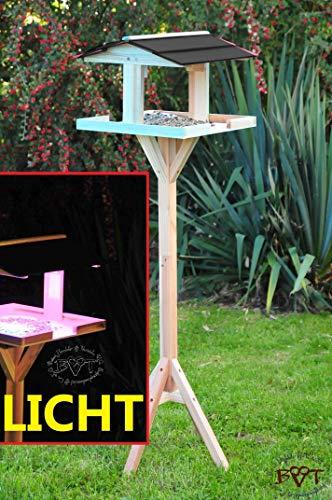 -Shop-hannusch nichoir à oiseaux avec pied, toit noir foncé élégant, avec éclairage lED/mangeoire en bois résistant aux intempéries, hI-vIERDAANT-bEL - 002, grand résistant aux intempéries, nichoir mangeoire pour oiseau avec support et résistant aux intempéries-en bois avec nichoir à oiseaux avec station d'accueil, couleur-bois avec toit résistant aux intempéries pour aliments secs 116 cm turquoise