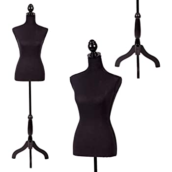 "FDW Manikin 60""-67""Height Adjustable Female Dress Model Display Torso Body Tripod Stand Clothing Forms, Black"