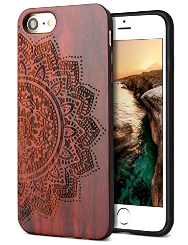 YFWOOD Compatible for iPhone 8 Case Wood, Natural Real Wood Carving Pattern Slim Bumper Anti Scratch Durable Flexible Protective Case for iPhone 7/8 iPhone SE 2020 4.7 Inch