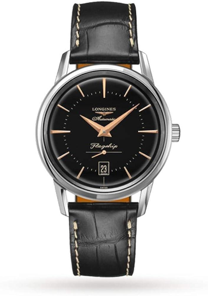 Longines orologio automatico per uomo in acciaio inossidabile con cinturino in pelle di coccodrillo L47954580