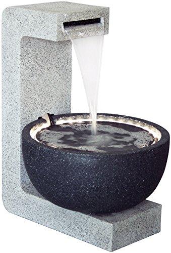 dobar Großer Design Garten-Brunnen mit Pumpe und LED´s, Polyresin, grau-schwarz 52 x 44 x 65 cm, 96120e