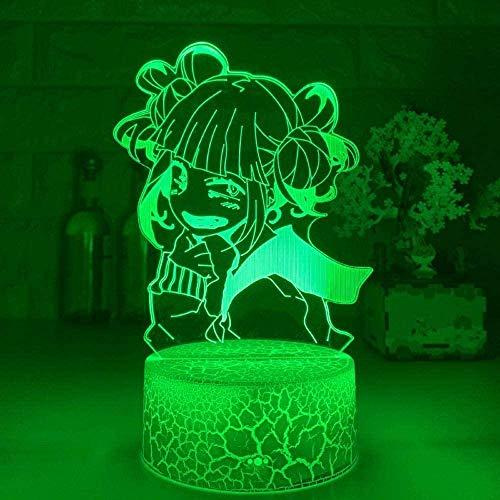 GEZHF Lámpara LED 3D Anime para niños Illusion My Hero Academia Himiko Toga Boku no Hero Academia Cross My Body para dormitorio 7 colores Touch Lamp