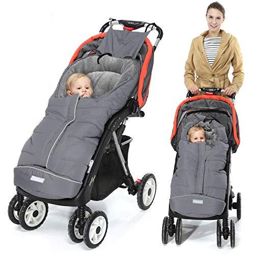 Orzbow Saco silla paseo invierno Universal para Cochecito y Silla de paseo - para carro bebe,capazo - Impermeable a Prueba de Viento Hasta -10° (Gris,0-36 Meses)