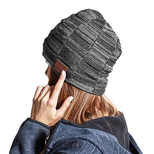 Winter Bluetooth 5.0 Musik Hut, Frauen Männer Strickmütze Headset mit Lautsprecher, Waschbar Wireless mit Hand Frei Musik hören und telefonieren Ski Mütze für Männer/Frauen/Papa (Color : Gray)