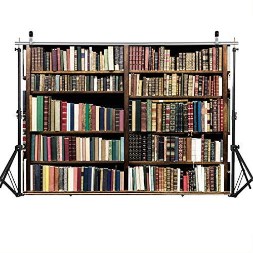 SJOLOON 7X5FT Bookshelf Backdrop for Photography Retro School Library Bookrack Background Antique Wood Bookcase Kids Photo Booth Shoot Vinyl Studio Props 11439