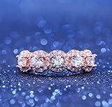 Wenbin Fashion Ring Women 18K Rose Gold Filled Morganite Ring Princess Cut White Topaz CZ Engagement Ring Engagement Wedding Band Ring for Women Size 6-10 (US 6)