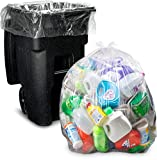 Product Image of the 95-96 Gallon Clear Garbage Bags, (25 Count w/Ties) Large Plastic Trash Bags, 61'W x 68'H.