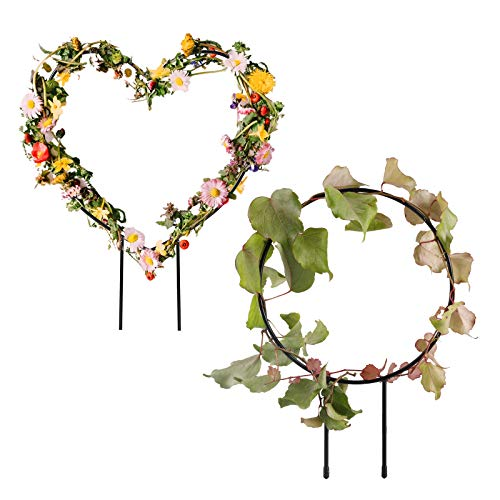 æ— 2Pcs Metal Garden Trellis,Small Garden Plant Support Stake,Iron Plant Support Frame, Plant Cage for Potted Plants Climbing Vines Ivy Cucumbers Clematis(Round,Heart-Shaped)