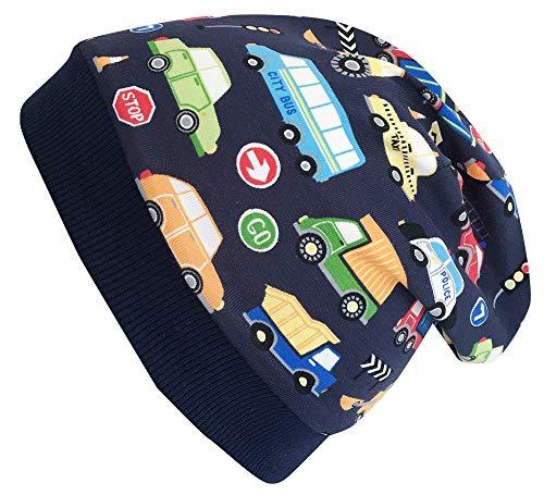 Wollhuhn Öko Warme Jungen/Mädchen Autos dunkelblau/bunt Beanie-Mütze mit Fleecefutter (aus Öko-Stoffen, Bio), 20180835, Gr S: KU 48/50 (ca 1-3 Jahre)