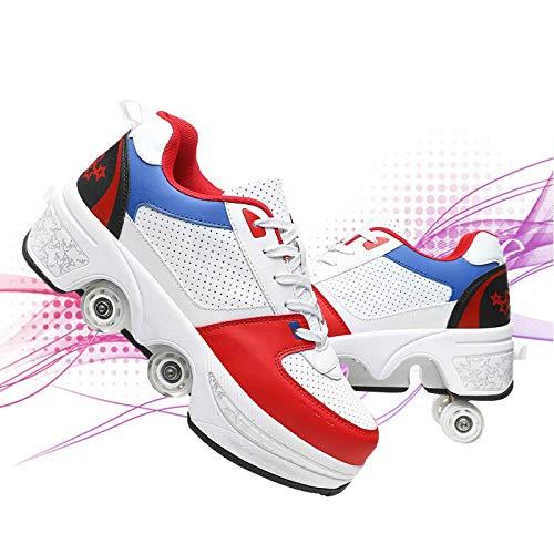 DADUDU Deformación Patines De Ruedas En Paralelo Zapatos Multiusos 2 En 1 Doble Fila para Caminar Automáticos Patines Zapatos Deportivos Al Aire Libre para Niños Y Niñas