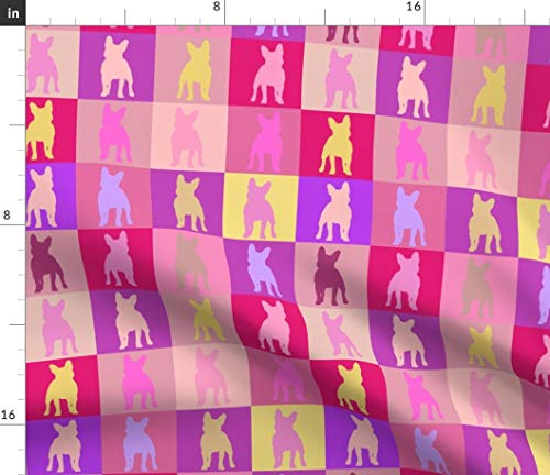 Spoonflower Fabric - French Bulldog Color Pink Block Tan Printed on Performance Piqué Fabric by The Yard - Performance Athletic Apparel Fashion