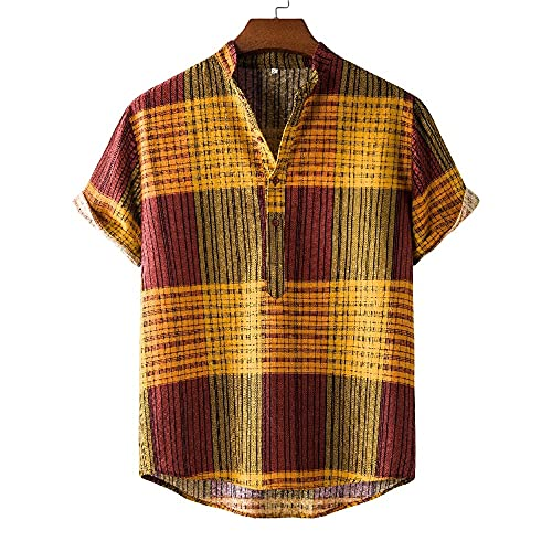 Camisa Hombre Verano Casual Transpirable Hombres Manga Corta Estilo Étnico Vintage Hombres Camisa Henley Estampado Único Camisas Casuales Hombres