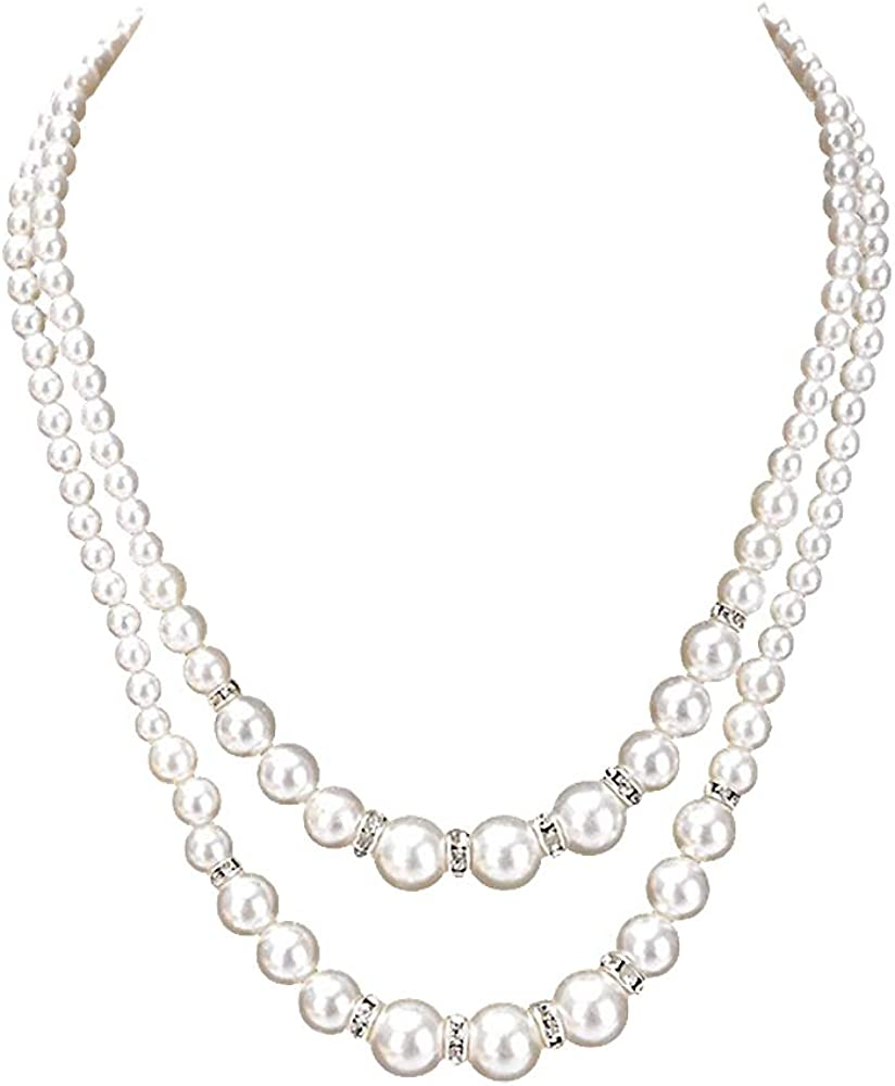 Ailer White Long Simulated Pearls Necklace for Women Fashion Beads Cluster Double Layer Pearl Necklace Extender size50+7CM