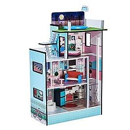 Teamson Kids- 3.5″ TD-13111D Maison de Poupée,Multicolore (Rose/Blanc/Bleu)