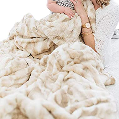 Oversized Softest Warm Elegant Cozy Faux Fur Home Throw Blanket 60  x 80  by Graced Soft Luxuries, Ivory Tie Dye