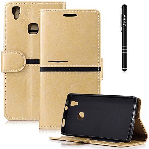 Slynmax Einfach Leder Tasche Schutzhülle für DOOGEE X5 MAX/DOOGEE X5 MAX Pro,5 Zoll) Hülle Gold Flip Wallet Hülle Handy Brieftasche Lederhülle Handyhülle Schutz Hüllen Handytasche Klapphülle,Schwarz)