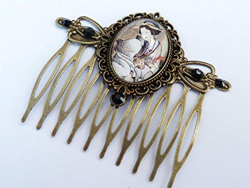 Haarkamm mit Geisha, Japan Motiv, Orient