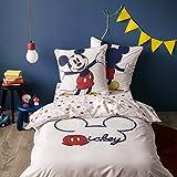 BLANC CERISE Parure de lit Enfant imprimée Mickey Trend - 100% Coton - Blanc et Rouge 140X200 cm