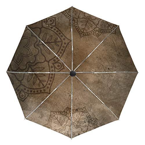 DEZIRO? Paraguas de Mandala Vintage para Exteriores, autoabierto, Resistente al Viento, Resistente al Agua, Unisex Adulto, DR-322, 4, Talla única