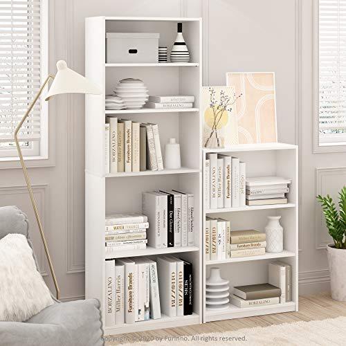 FURINNO JAYA Simple Home 3-Tier Adjustable Shelf Bookcase, White