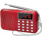 Retekess PR11 Radio Portatil Pequeña, Radio de Bolsillo FM Am Radio con Batería Recargable, Linterna, Radio Transistor, Soporte Unidad USB, Tarjeta TF, Entrada AUX (Rojo)