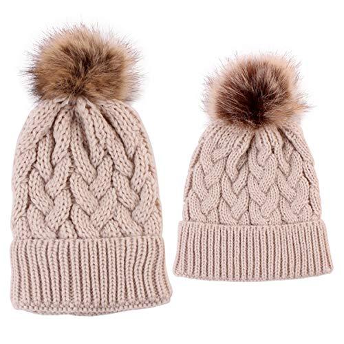 Yinuoday 2 gorros para madre y bebé a juego con gorro de lana para invierno