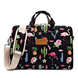 Canvaslife Flamingos Pattern 13 inch Waterproof Laptop Shoulder Messenger Case Bag with 270 Degree Rebound Bubble Protection for MacBook Pro Air 13 and 11 inch 12 inch 13.3 inch Laptop