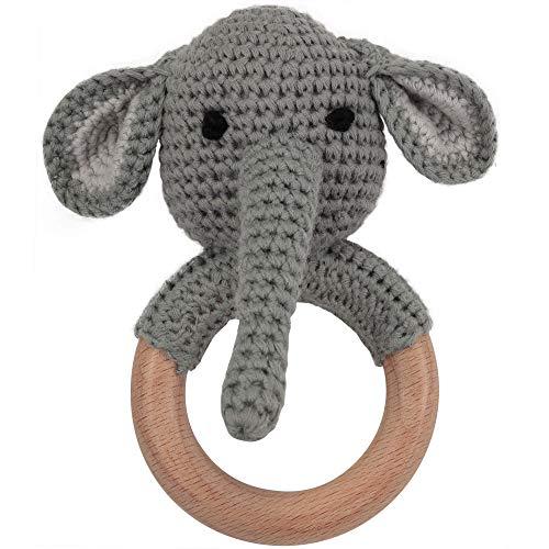Beißring gehäkelt Elefant mit langem Rüssel mit integrierter Babyrassel, Greifling Spielzeug Holz und Baumwolle | Geschenk zur Geburt, Babyparty, Handmade Rassel für Baby & Kinder (Elefant)