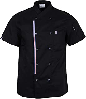 Prettyia Breathable Summer Chef Jackets Coat Short Sleeves Kitchen Uniforms Food Service Work Apparel - Black, L