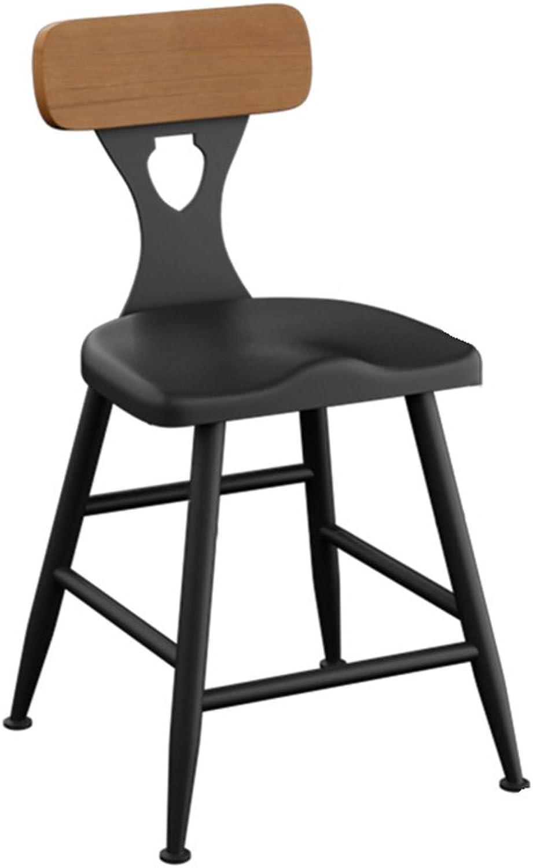 FFLSDR Iron Bar Stools Bar Chair Home Back Chair High Stool Modern Minimalist Bar Stool Solid Wood High Chair (Size   45cm)