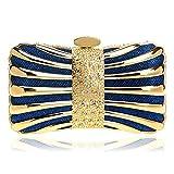 LBY - Bolsa de cena para mujer, de metal, cuadrada, vestido de noche, para banquetes, maquillaje, bolsa de almacenamiento, poliéster, azul, 17x10x5.5cm