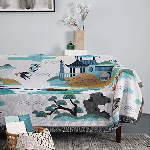 Acogedor sofá lanzar manta paisaje folk tibio suave de punto suave manta de techo grande con borla para sofá, cama, silla,130 * 160cm