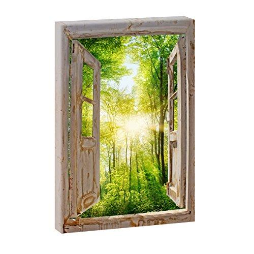 Fensterblick - Sonnenstrahlen im Wald | Panoramabild im XXL Format | Poster | Wandbild | Fotografie | Trendiger Kunstdruck auf Leinwand | Verschiedene Formate (Farbig, 120 cm x 80 cm | Hochformat)