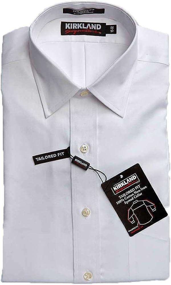 Kirkland Men's Tailored Fit Dress Shirt - White
