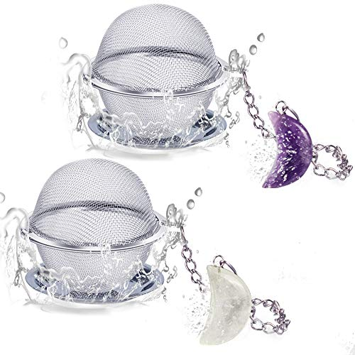2pcs Tea Infuser Scdom Stainless Steel Ball Mesh Tea Strainer Amethyst amp White Crystal Moon Pendant Tea Ball Tea Filter with Extended Chain Hook for Brew Fine Loose Tea and Spices amp Seasonings