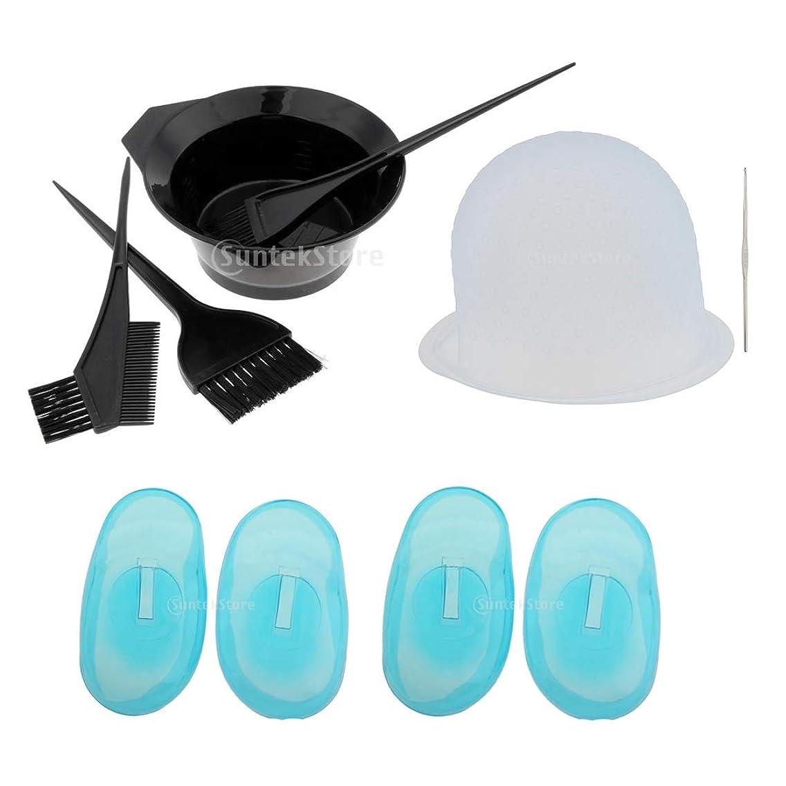 CUTICATE 9Pcs/Set Plastic Hair Dye Bowl Brushes Kit Hair Coloring Brushes Tinting Bowl Highlighting Cap Hook and Ear Covers Combo