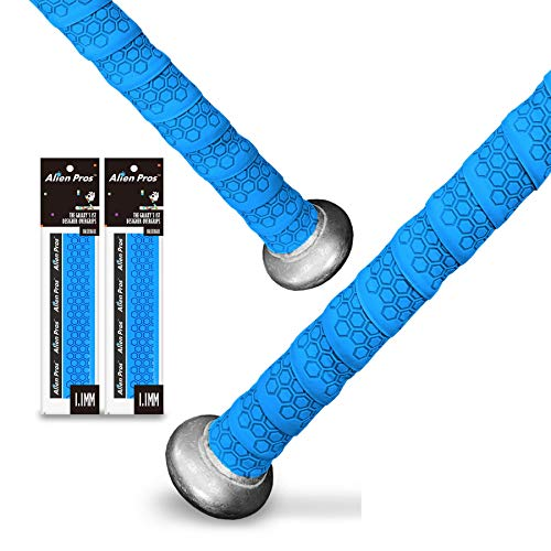 Alien Pros Bat Grip Tape for Baseball (2 Grips) – 1.1 mm Precut and Pro Feel Bat Tape – Replacement for Old Baseball bat Grip – Wrap Your Bat for an Epic Home Run (2 Grips, Blue)