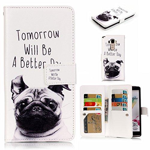Coozon PU Leder Schutzhülle Handyhülle Painted PC Hülle Cover Hülle Handy-Fall-Haut Shell Abdeckungen für LG G4 Stylus/LG LS770 (5.7 Zoll)