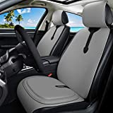 Gray Leather Seat Covers Universal Front Seat Covers + Premium All Gel Seat Cushion Pad for Trucks 7PCS Set (C-Gray) -  Haihong
