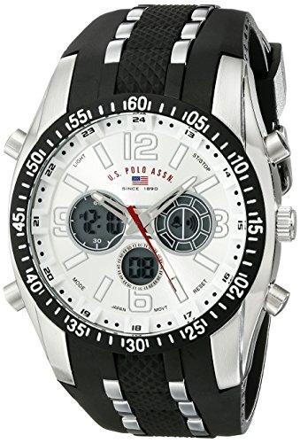 U.S. Polo Assn. Sport Herren US9061 Armbanduhr mit schwarzem Kautschukband
