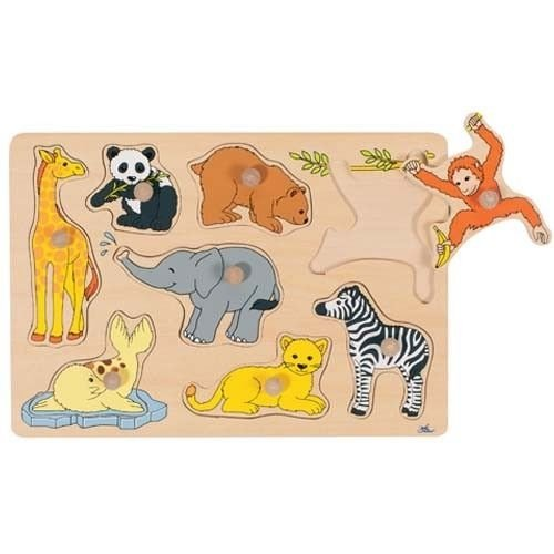Goki - 2041554 - Puzzle en Bois À Encastrement - Les Jeunes Animaux - 15 Pièces