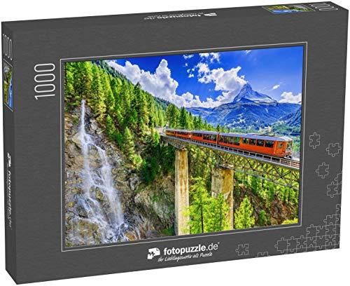 fotopuzzle.de Puzzle 1000 Teile Zermatt, Schweiz. Gornergrat Touristenzug mit Wasserfall, Brücke und Matterhorn. Region Wallis